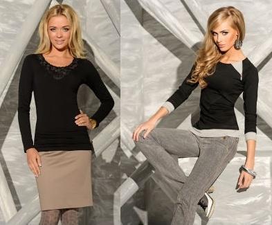 Černá trička se dají kombinovat s kalhotami i sukní